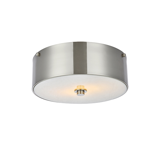 Hazen Burnished Nickel and Frosted White Two-Light Flush Mount
