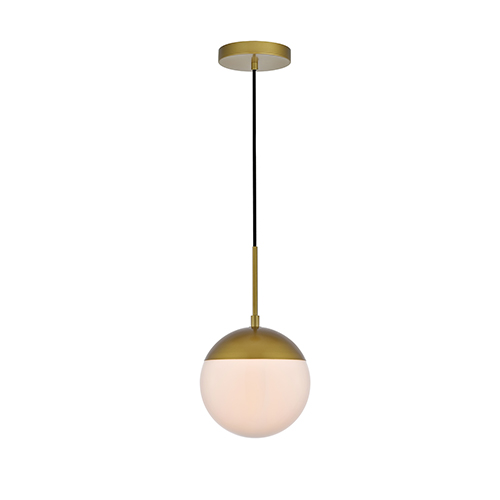 Eclipse Brass and Frosted White One-Light Mini Pendant