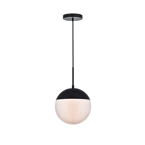 Eclipse Black and Frosted White 10-Inch One-Light Pendant