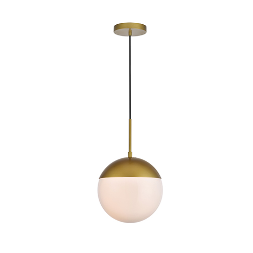 Eclipse Brass and Frosted White 10-Inch One-Light Pendant