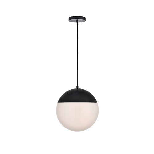 Eclipse Black and Frosted White 14-Inch One-Light Pendant