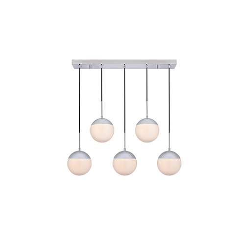 Eclipse Chrome and Frosted White Eight-Inch Five-Light Mini Pendant