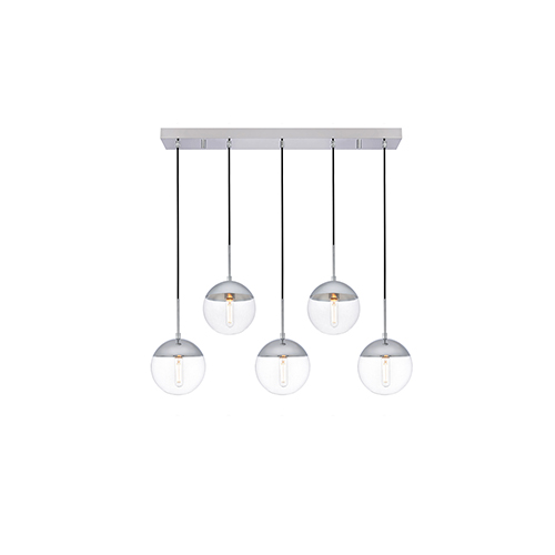 Eclipse Chrome Eight-Inch Five-Light Mini Pendant
