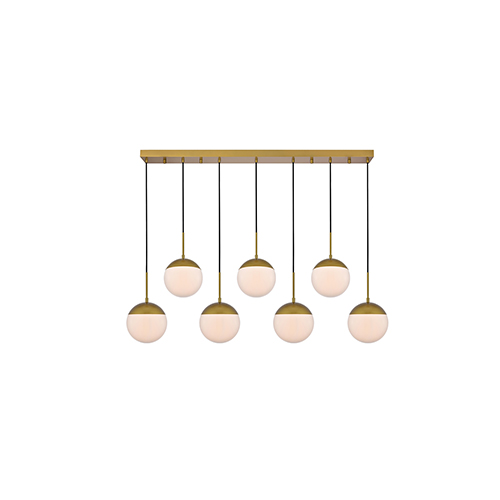 Eclipse Brass and Frosted White Eight-Inch Seven-Light Mini Pendant