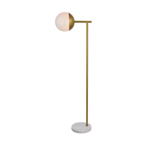 Eclipse Brass and Frosted White 50-Inch One-Light Floor Lamp