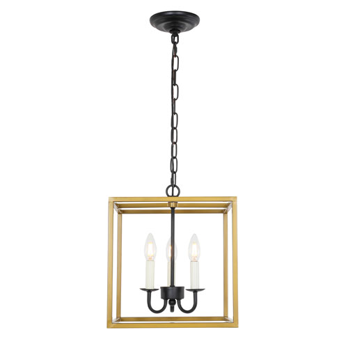 Eclipse Brass and Black Three-Light Pendant