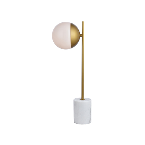 Eclipse Brass and Frosted White One-Light Table Lamp