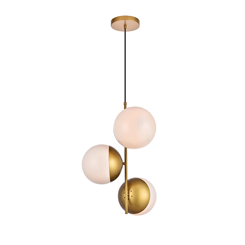 Eclipse Brass and Frosted White 17-Inch Three-Light Pendant