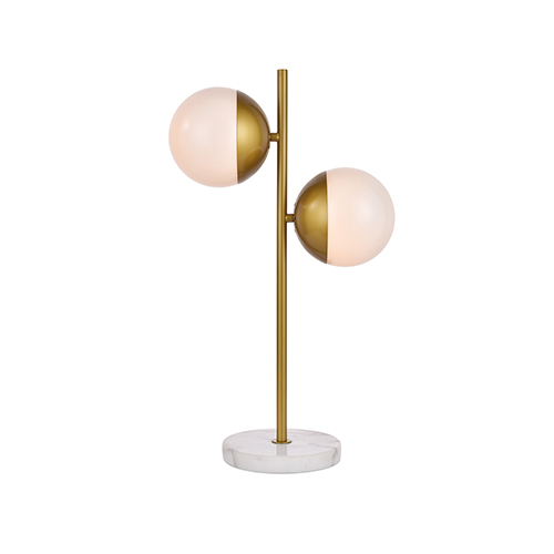 Eclipse Brass and Frosted White Two-Light Table Lamp