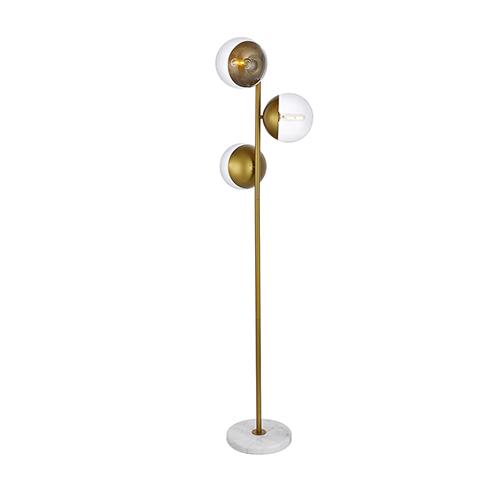 Eclipse Brass Three-Light Floor Lamp