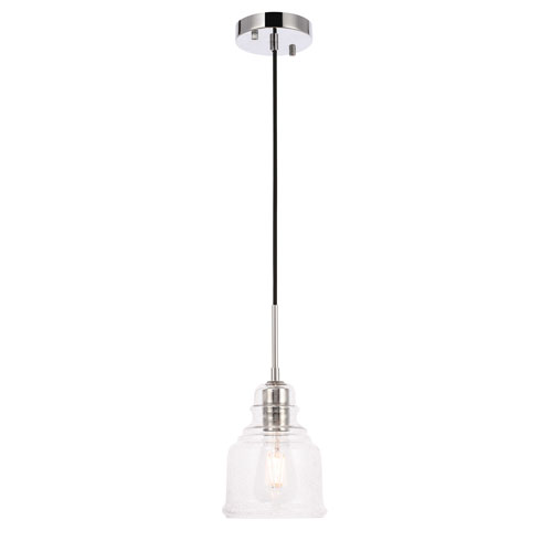 Pierce Chrome Six-Inch One-Light Mini Pendant with Clear Seeded Glass