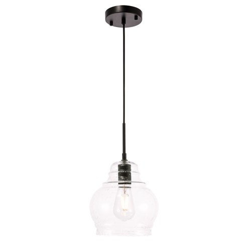 Pierce Black Eight-Inch One-Light Mini Pendant with Clear Seeded Glass