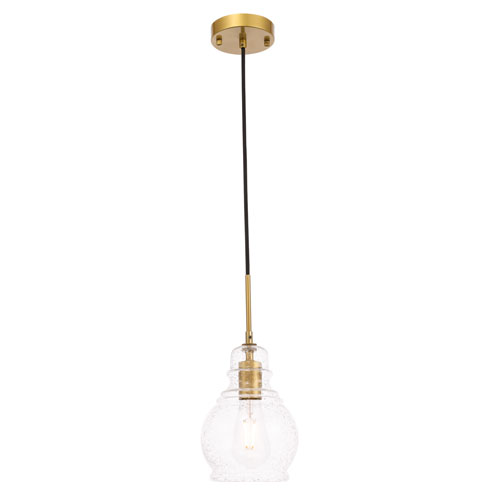 Pierce Brass One-Light Mini Pendant with Clear Seeded Glass