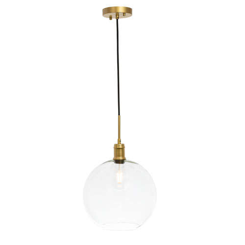 Emett Brass 13-Inch One-Light Pendant with Clear Glass