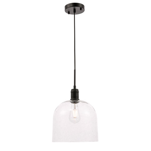 Gabe Black 10-Inch One-Light Pendant with Clear Seeded Glass