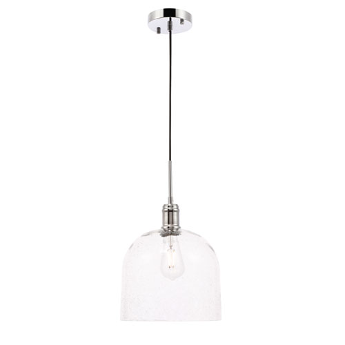 Gabe Chrome 10-Inch One-Light Pendant with Clear Seeded Glass