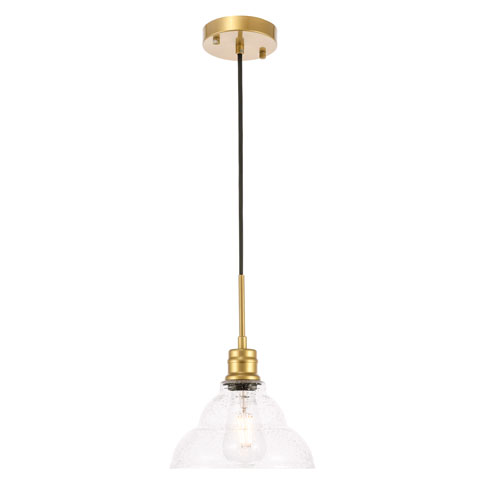 Gil Brass Nine-Inch One-Light Mini Pendant with Clear Seeded Glass