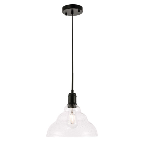 Gil Black 11-Inch One-Light Pendant with Clear Seeded Glass