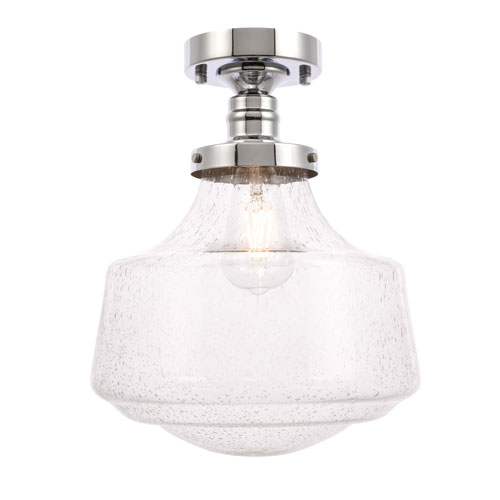 Elegant Lighting Lyle Chrome 11 Inch One Light Flush Mount With Clear Seeded Glass Ld6241c Bellacor