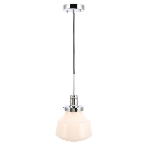 Lyle Chrome Eight-Inch One-Light Mini Pendant with Frosted White Glass