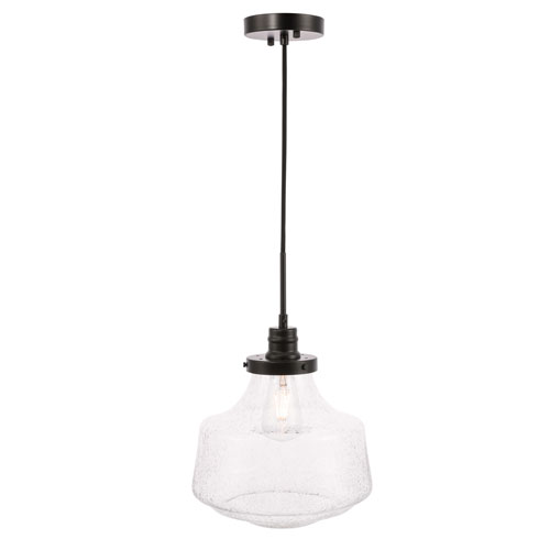 Lyle Black 11-Inch One-Light Pendant with Clear Seeded Glass