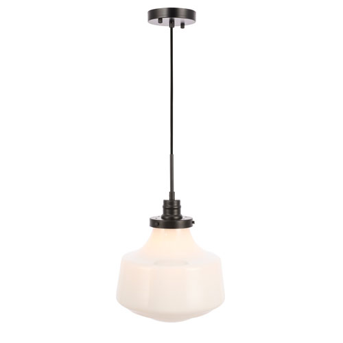 Lyle Black 11-Inch One-Light Pendant with Frosted White Glass
