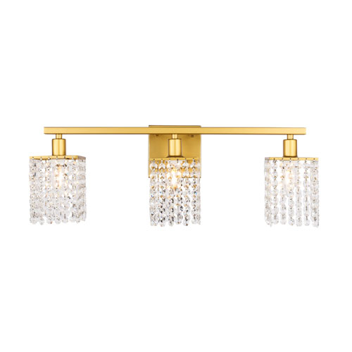 Phineas Brass Three-Light Bath Vanity with Clear Crystals