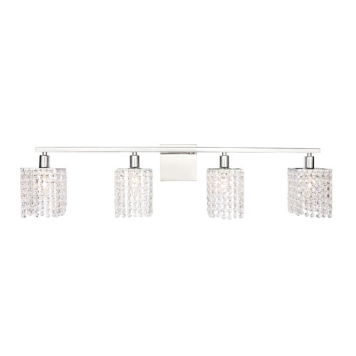Phineas Chrome Four-Light Bath Vanity with Clear Crystals