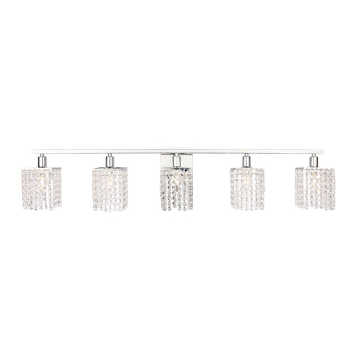 Phineas Chrome Five-Light Bath Vanity with Clear Crystals