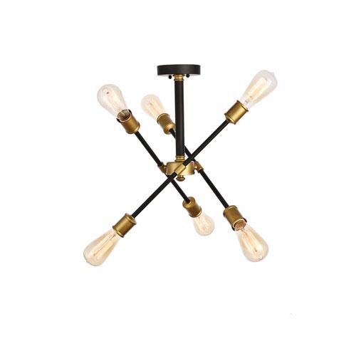 Axel Black and Brass 17-Inch Six-Light Semi-Flush Mount