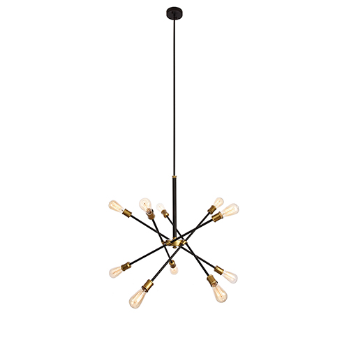 Axel Black and Brass 10-Light Chandelier