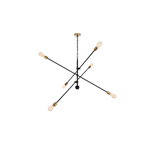 Axel Black and Brass 55-Inch Six-Light Pendant