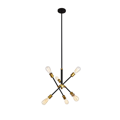 Axel Black and Brass 17-Inch Six-Light Pendant