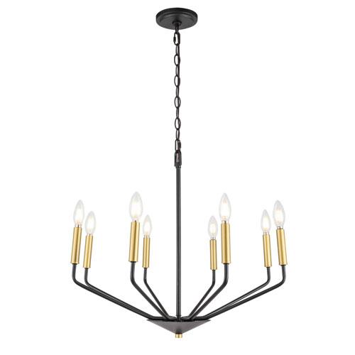 Enzo Black and Brass Eight-Light Pendant
