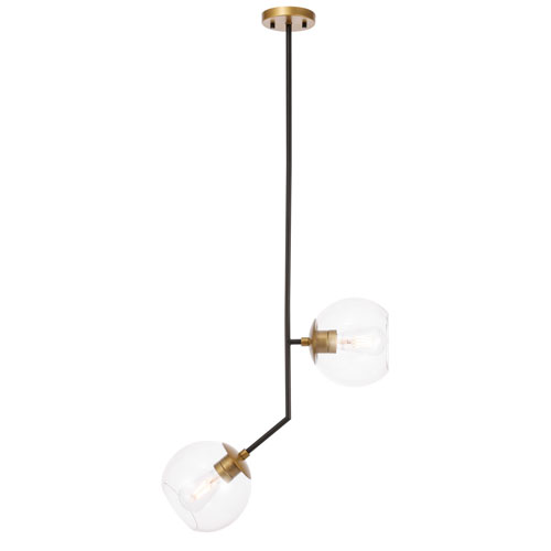 Ryland Black Brass Eight-Inch Two-Light Mini Pendant with Clear Glass