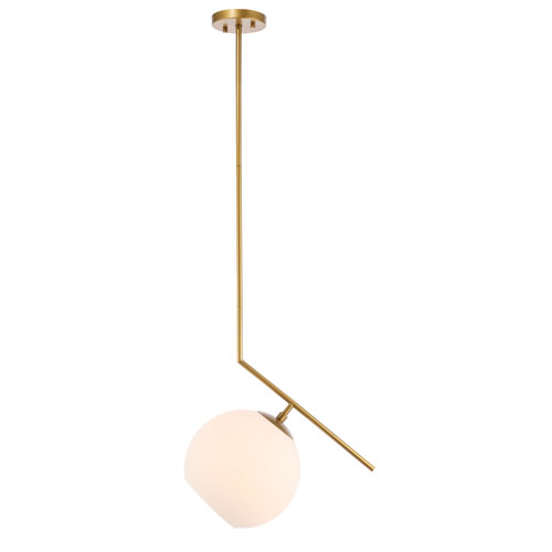 Ryland Brass 10-Inch One-Light Pendant with Frosted White Glass