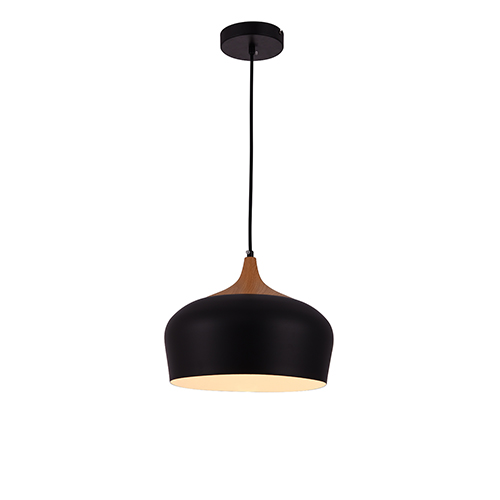 Nora Black and Natural Wood One-Light Pendant