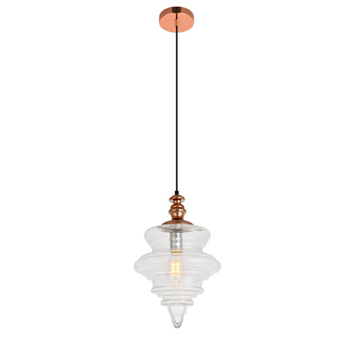 Topper Copper and Clear 11-Inch One-Light Pendant