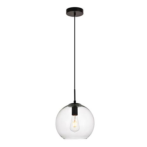 Placido Black Nine-Inch One-Light Round Mini Pendant