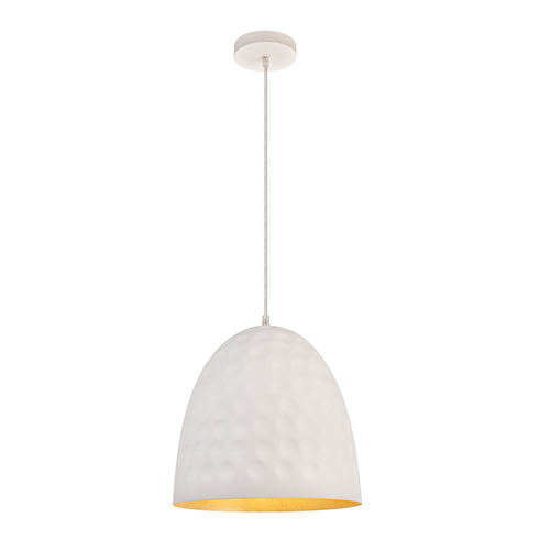 Clio Frosted White and Gold Leaf 11-Inch One-Light Pendant