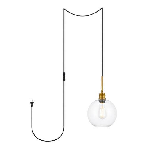 Emett Brass One-Light Plug-In Pendant