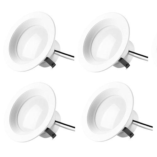 Gaige Matte White Four-Inch 5000K LED Recessed Retrofit Trim, Pack of Four