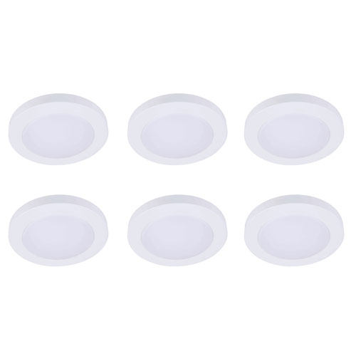 Blaise White Six-Inch 2700K LED Recessed Disk Light, Pack of Six