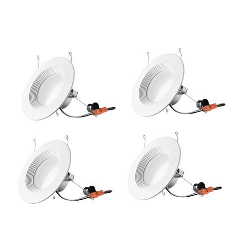 Nixon Matte White Six-Inch 2700K LED Recessed Retrofit Trim, Pack of Four