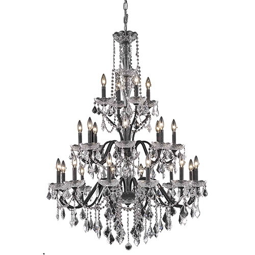 Elegant Lighting St. Francis Dark Bronze 36-Inch 24-Light Chandelier with Royal Cut Crystal