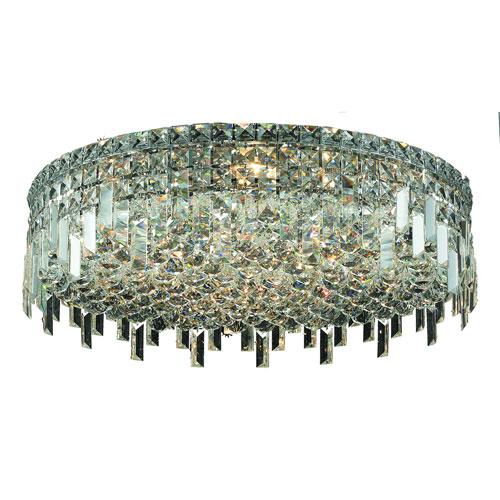 Maxime Chrome Nine-Light Flush Mount with Clear Elegant Cut Crystal