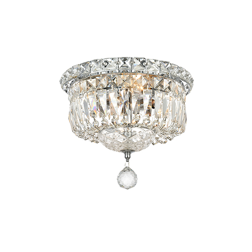 Elegant Lighting Tranquil Chrome Four-Light Flush Mount with Elegant Cut Crystal