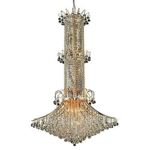 Toureg Gold 44-Inch 20-Light Chandelier with Royal Cut Crystal