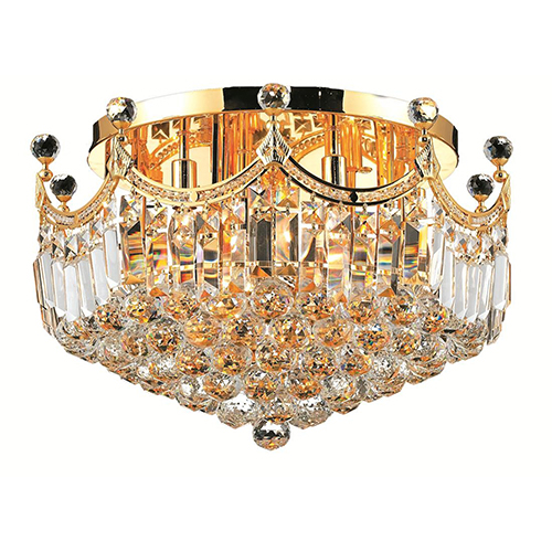 Corona Gold 20-Inch Nine-Light Flush Mount with Royal Cut Crystal