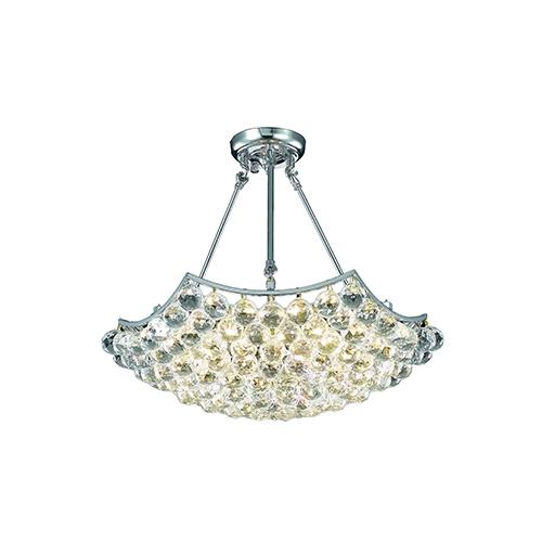 Corona Chrome 22-Inch Six-Light Chandelier with Elegant Cut Crystal